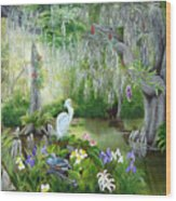 Blooming Swamp Wood Print