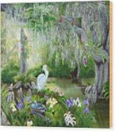 Blooming Swamp Wood Print by Darlene Green