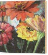 Blooming Zinnias Wood Print