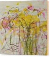 Blooms In Shadow Wood Print