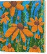 Blooms Of Orange Wood Print