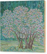 Bloomy Trees Wood Print