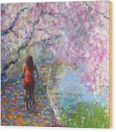 Blossom Alley Impressionistic Painting Wood Print