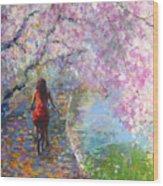 Blossom Alley Impressionistic Painting Wood Print by Svetlana Novikova
