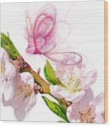Blossom And Butterflies Wood Print