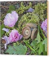 Blossoms And Acorn Wood Print