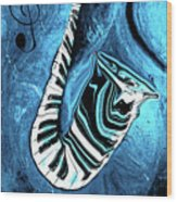 Piano Keys In A Saxophone Blue 2 - Music In Motion Wood Print