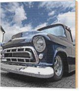Blue 57 Stepside Chevy Wood Print