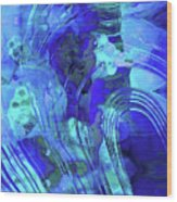 Blue Abstract Art - Reflections - Sharon Cummings Wood Print