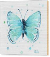 Blue Abstract Butterfly Wood Print