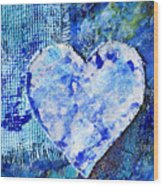 Blue Abstract Painting With Heart Wood Print