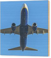Blue Airplane Takeing Off Wood Print