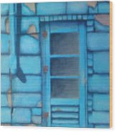 Blue Alley Wood Print