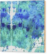 Blue And Aqua Abstract - Wishing Well - Sharon Cummings Wood Print
