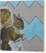 Blue And Beige Chevron Squirrel Wood Print