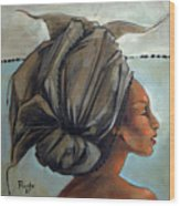 Blue And Black Bead Headdress Wood Print by Jacque Hudson