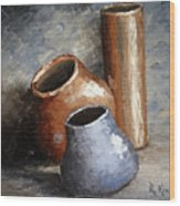 Blue And Brown Pots Wood Print