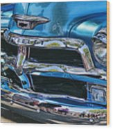 Blue And Chrome Chevy Pickup Front End Wood Print