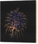 Blue And Gold Fireworks Wood Print