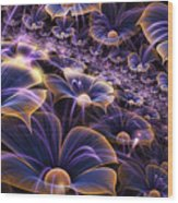 Blue And Gold Fractal Flowers Wood Print