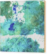 Blue And Green Abstract - Imagine - Sharon Cummings Wood Print