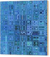 Blue And Green Quilt Wood Print