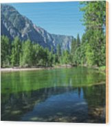 Blue And Green River Wood Print