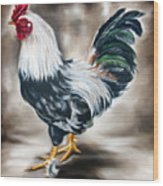 Blue And Green Rooster Wood Print