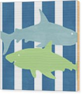 Blue And Green Sharks- Art By Linda Woods Wood Print