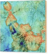 Blue And Orange Abstract - Time Dance - Sharon Cummings Wood Print