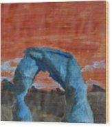 Blue And Orange Wood Print