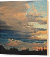 Blue And Orange Sunset Wood Print