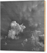 Blue And Pink Clouds In Black And White  Wood Print