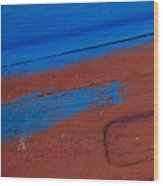Blue And Red Abstract Wood Print