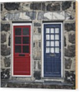 Blue And Red Doors Wood Print