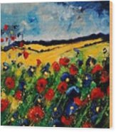 Blue And Red Poppies 45 Wood Print