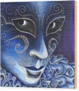 Blue And Sliver Carnival Flair  Wood Print