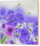 Blue And Violet Cornflowers Wood Print