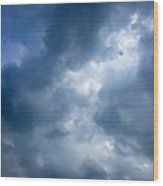 Blue And White Cloud Formations Wood Print