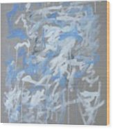 Blue and White Composition Wood Print