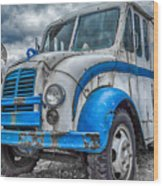 Blue And White Divco Wood Print