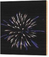 Blue And White Fireworks Wood Print