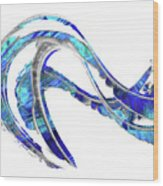 Blue And White Painting - Wave 2 - Sharon Cummings Wood Print