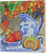 Blue And White Porcelain With Cherries Wood Print