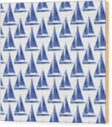 Blue And White Sailboats Pattern- Art By Linda Woods Wood Print