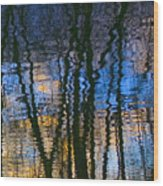 Blue And Yellow Abstract Reflections Wood Print