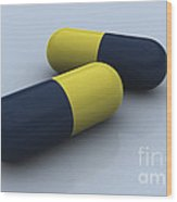 Blue And Yellow Medication Capsules Wood Print