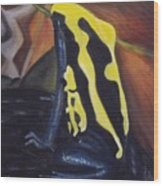 Blue And Yellow Poison Dart Frog Wood Print