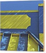 Blue And Yellow Shadows Wood Print