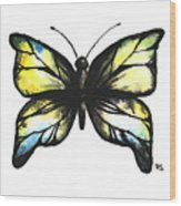 Blue And Yellow Watercolor Butterfly Wood Print